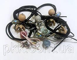 Резинка для волос тройная с украшением шар и лилия RR-910E (5шт)
