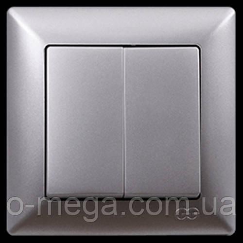 Выключатель двухклавишный Gunsan Visage, серебро