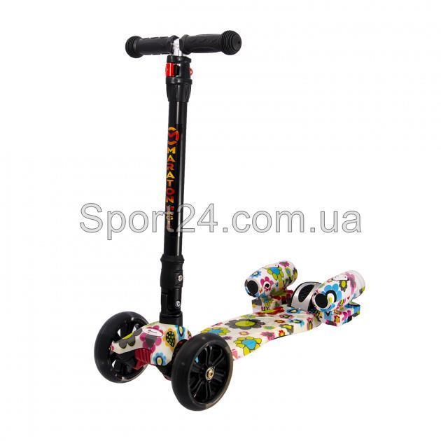 Детский Музыкальный самокат Maraton Magic Ромашки (с турбинами ), светящ.колеса, складной