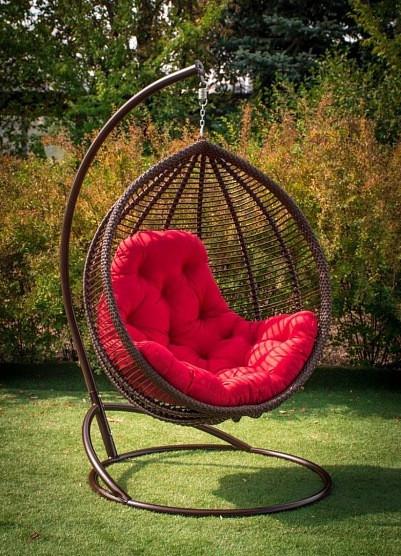 """Подвесное кресло """"КИТ"""" (шоколад + красный)"""