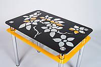 """Кухонный стол со стеклянной столешницей """"Цветы-рамка"""" черно-оранжевый/белый"""