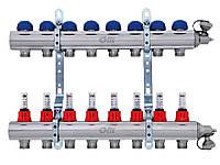 Коллектор для теплого пола FIV на 2 выхода в сборе с расходомерами