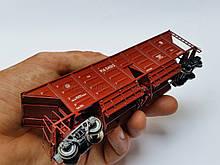 4-осный вагон-хоппер для охлажденного кокса модель 22-4018 (с рифлеными бортами ), СЖД, H0,1/87