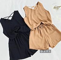 Женский стильный летний костюм с шортами,шорты+ майка. Ткань софт, 3 цвета