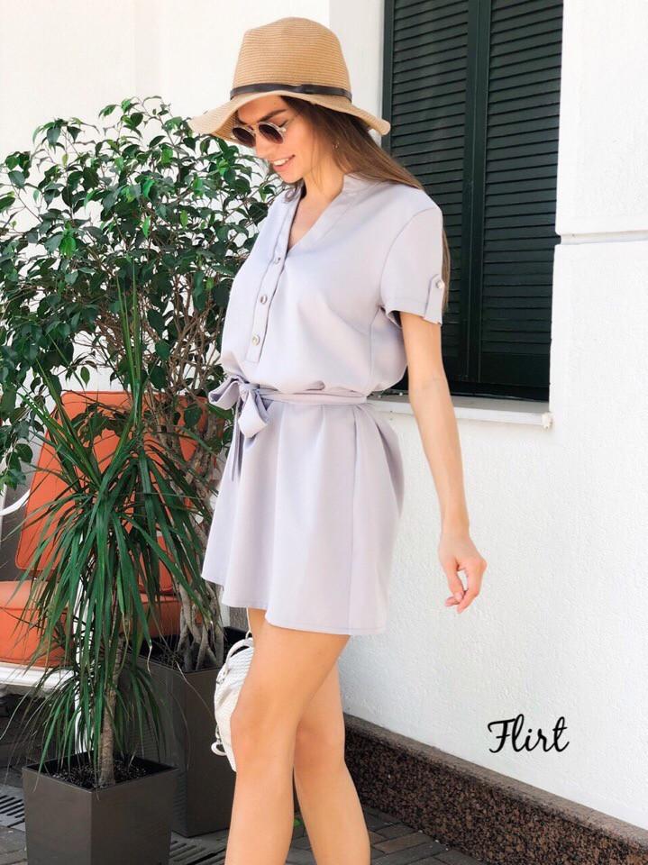 Платье мини с поясом, с коротким рукавом в разных расцветках