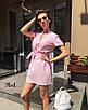 Платье мини с поясом, с коротким рукавом в разных расцветках, фото 6