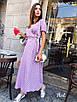 Платье миди на запах с поясом, принт горох, фото 3