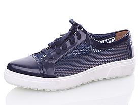 Туфли летние Girnaive женские лаковые, сетка синие