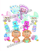 Повітряні кульки з гелієм для виписки з пологового будинку хлопчик, дівчинка