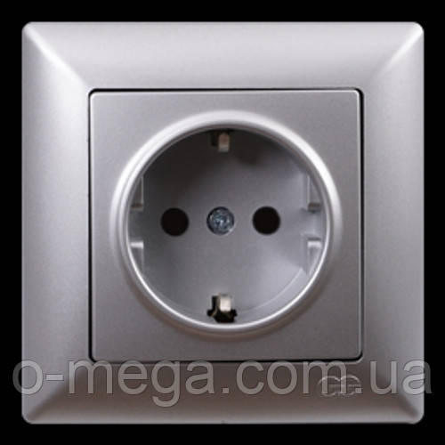 Розетка с заземлением, одинарная Gunsan Visage, серебро
