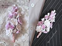 """""""Бело-розовые розы"""" бутоньерка для жениха или свидетеля"""