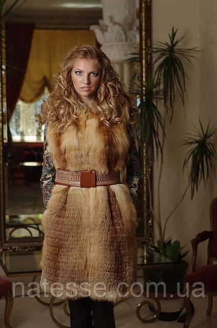 жилет жилетка из лисы fox horizontal layered fur vest