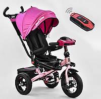 Детский трёхколёсный велосипед 6088 F - 3377 Best Trike Розовый, поворотное сиденье, складной руль, пульт