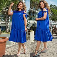 Женское платье свободного кроя с отделкой из гипюра 48-50, 52-54,56-58, 60-62