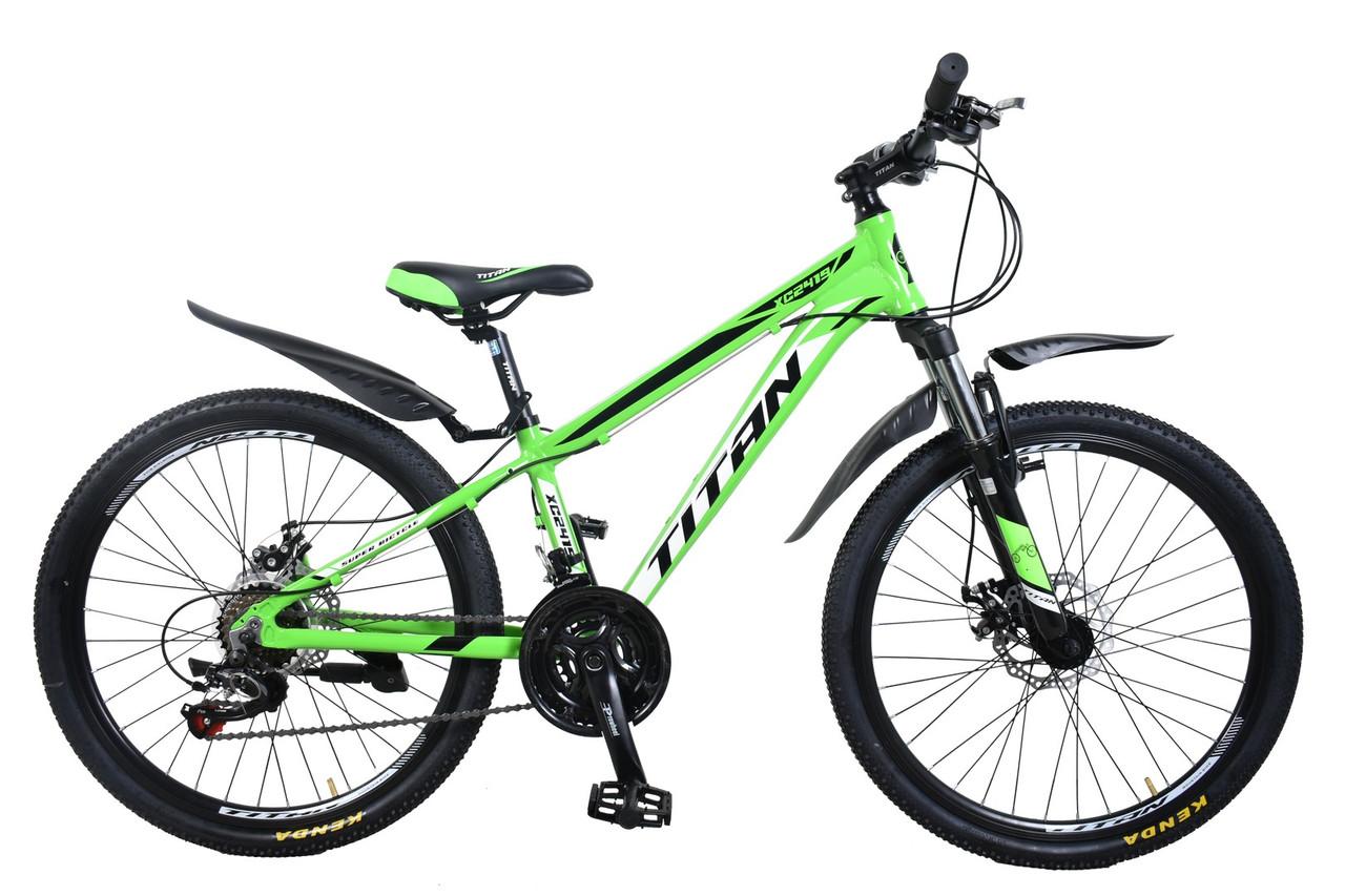 """Алюминиевый подростковый горный велосипед 24"""" TITAN XC2419 (Shimano, моноблок, Lockout, крылья)"""