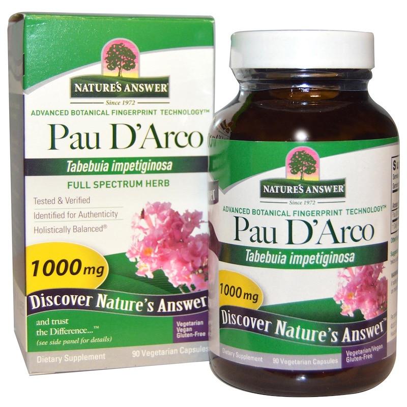 Nature's Answer, Pau D'Arco (По д'Арко - кора муравьиного дерева), 1000 мг, 90 капсул