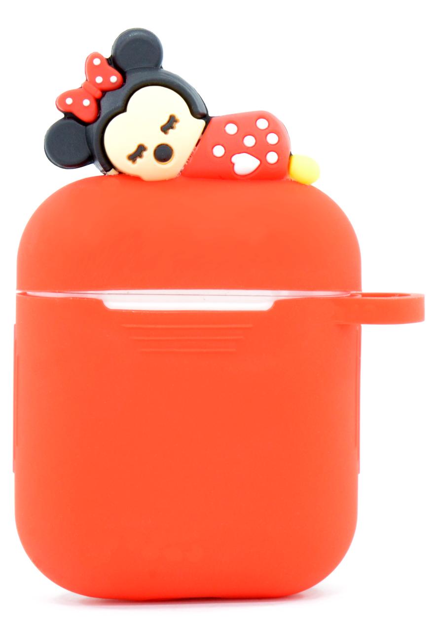 Чохол NZY для навушників Apple AirPods 3D Герої Дісней + карабін Міні Маус Червоний (123172)