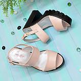 Женские кожаные босоножки на высокой устойчивом каблуке. Цвет пудра, фото 4