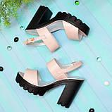 Женские кожаные босоножки на высокой устойчивом каблуке. Цвет пудра, фото 5