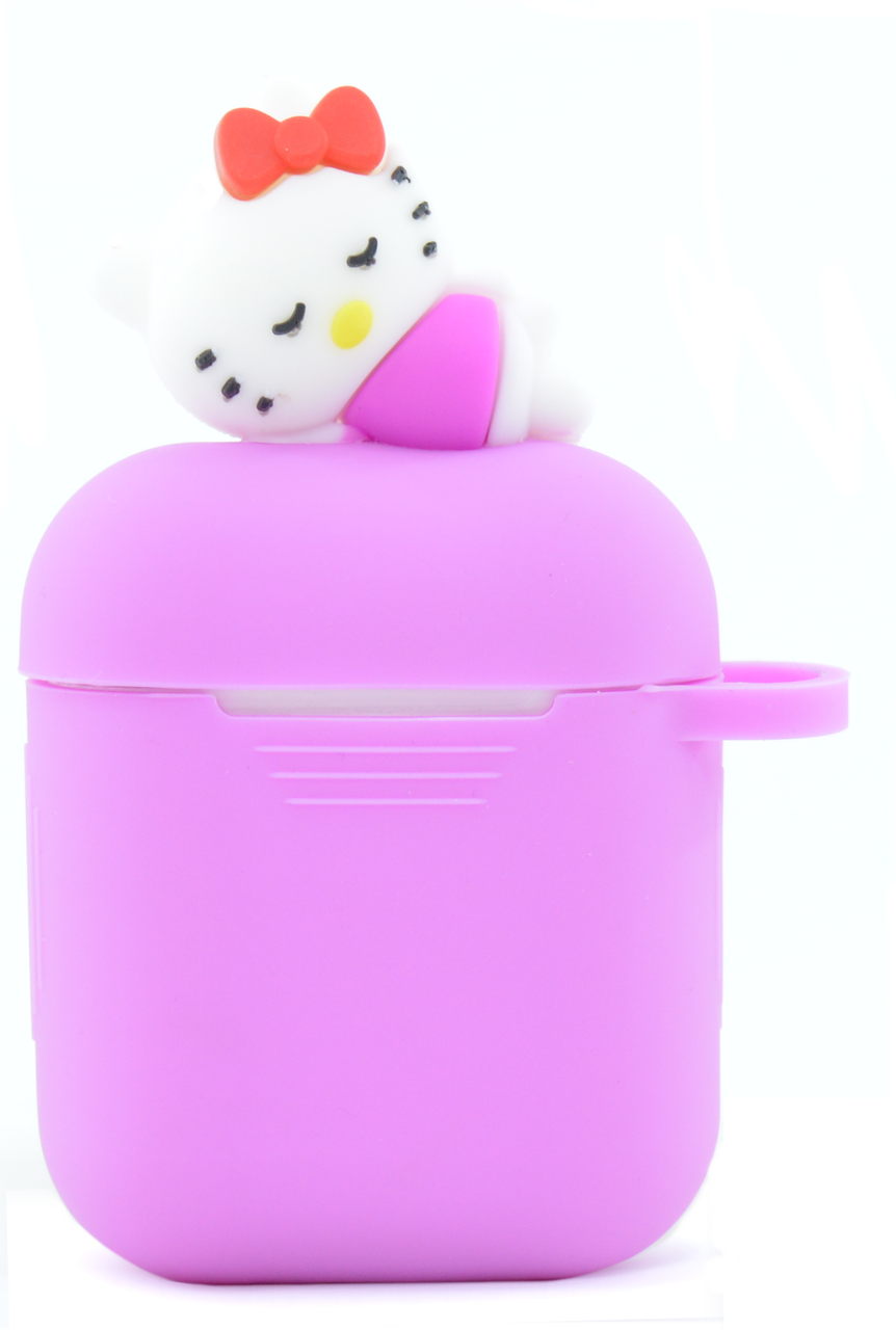 Чохол NZY для навушників Apple AirPods 3D Герої Дісней + карабін Хелоу Кіті Рожевий/Білий (123171)