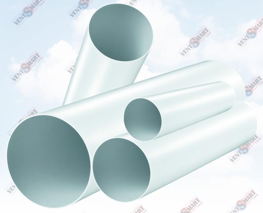Внешний вид круглых пластиковых труб для вентиляции ПЛАСТИВЕНТ производства ВЕНТС. Вентканалы Пластивент изготовлены из пластика высокого качества, который не поддерживает горение, имеют гладкую внутреннюю поверхность, широкий диапазон температур эксплуатации.