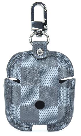 Чохол з застібкою Oloka для навушників Apple AirPods з карабіном в клітинку Чорний/Сірий (123179), фото 2