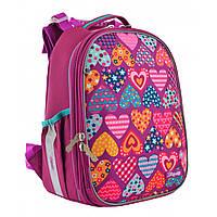 """Рюкзак шкільний каркасний ортопедичний для дівчинки H-25 """"Heart puzzle"""", фото 1"""