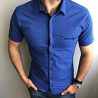 2839405fc24dffe Рубашка мужская классическая L, 3XL короткий рукав. Турция. Молодежная  турецкая рубашка. Синий
