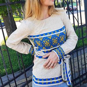 Льняная женская кофточка вышиванка Калина