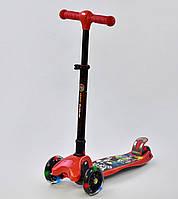 Самокат трехколесный Best Scooter с фарой, складной руль, красный, фото 1