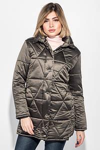 Куртка женская на кнопках и молнии, высокий ворот 68PD503 (Темный хаки)