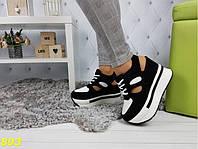 413e42970 Сникерсы кроссовки на высокой платформе с открытой пяткой черно-белые 37,  38, 40