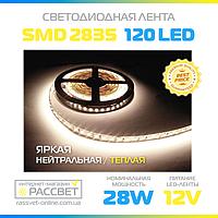 Светодиодная лента Специалист (Epistar) 12В яркая 120LED/m SMD2835 IP20 (яркость 2640Lm) 28Вт/м