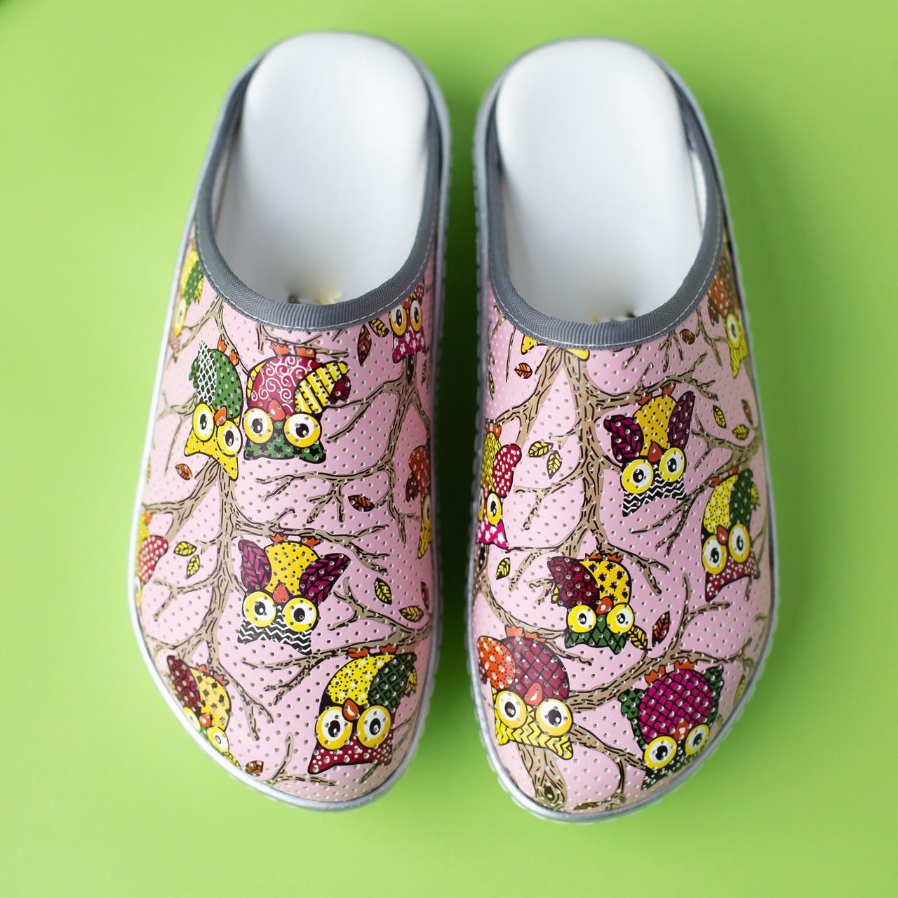 Медицинская обувь сабо совы розовые