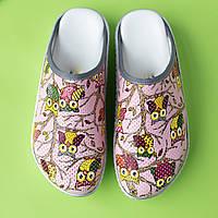 Медицинская обувь сабо совы розовые, фото 1