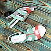 Женские кожаные босоножки на маленьком каблучке из натуральной кожи белого цвета и цвета коралл и мяты, фото 4
