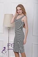 Платье трикотажное с короткими рукавами в полоску