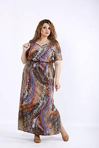Коричневое длинное платье легкое (54-74)