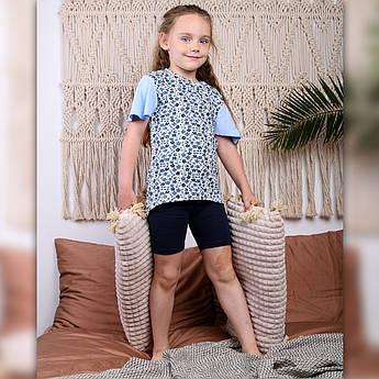 Детская пижама для девочки (Футболка + велосипедки) Интерлок | Дитяча піжама для дівчинки