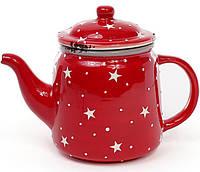 Чайник заварочный Звезды на красном 850 мл керамический BD-795-304psg, КОД: 295887
