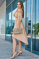 ✔️ Асимметричное платье с вышивкой на рукавах 42-48 размера кофейное, фото 1