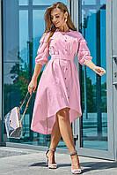 ✔️ Асимметричное платье с вышивкой на рукавах 42-48 размера светло-розовое, фото 1