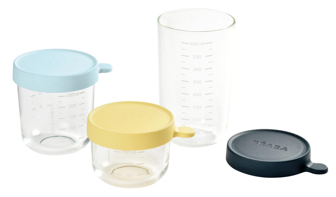 Beaba - Набор из 3-х стеклянных контейнеров для хранения 150 мл, 250 мл и 400 мл