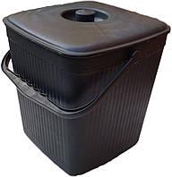 Відро для сміття квадратне пластикове 12 літрів чорне (ХАРПЛАСТМАС), фото 1