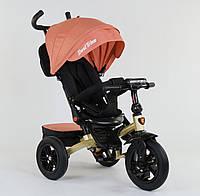 Детский трёхколёсный велосипед 9500 - 9035 Best Trike Персиковый, поворотное сиденье, складной руль, пульт