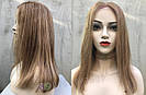 💥 Натуральный русый парик на сетке, удлинённое каре 💥, фото 2