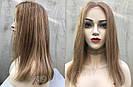 💥 Русый парик на сетке из натуральных волос, удлинённое каре 💥, фото 2