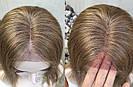 💥 Русый парик на сетке из натуральных волос, удлинённое каре 💥, фото 4