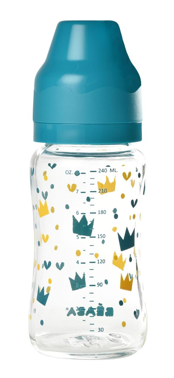 Beaba - Стеклянная бутылочка с широким горлышком 240 мл, цвет голубой