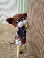 Кот вязаная интерьерная игрушка Подарок Сувенир